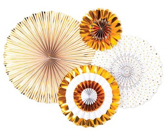 Gold Party Fans -Gold Party -Paper Rosettes -Paper Medallions -Gold Party Decor -Pinwheel Backdrop -Wall Covering -Paper fan backdrop PLCP08