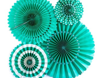 Teal Party Fans -Paper Rosettes -Paper Medallions -Teal Party Decor -Pinwheel Backdrop  -Wedding -Wall Covering -Paper fan backdrop -PGB205