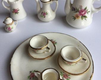 10 Piece Brinn Bone China Miniature Set.  Beautiful Pink Rose Pattern.  Very Dainty.  Collectors Set.