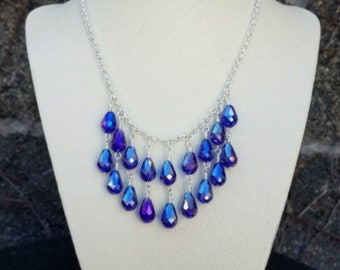 Teardrop blue crystal statement necklace on silver-teardrop cobalt blue crystal necklace-blue statement necklaces-cascading necklaces
