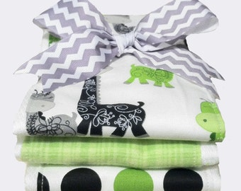 Mod Lime Giraffe Burp Cloths - Baby Shower Gift