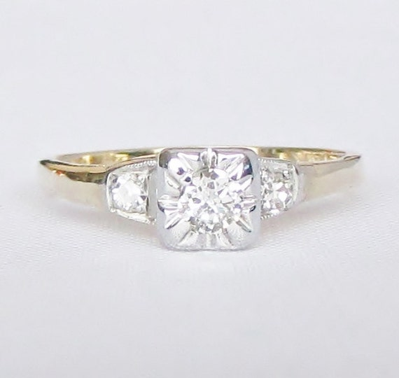 Vintage Two Tone Petite Diamond Engagement Promise Or Right
