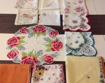 vintage lot of handkerchiefs/unique handkerchiefs/horse handkerchief/rose handkerchief/floral hankies/lot of vintage handkerchiefs