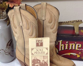 Vintage Frye Stacked Heel Boots/Frye Raindrop Inlay Cowboy Boots 7.5