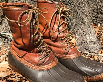 Vintage Chippewa Lace Up Hunting Boots - Chippewa Duck Boots - Chippewa Leather Rubber Boots 9