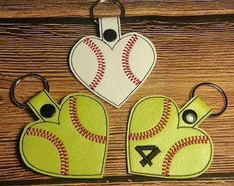 Heart shaped baseball/ softball keychain