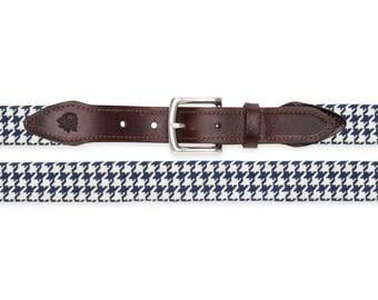 Houndstooth Needlepoint Belt (Blue)