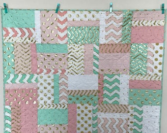 Modern Pink Green and white with gold metallic accents Baby girl quilt. green, pink  gold and white baby quilt