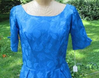 Cinderella Bride: Vintage Cobalt Blue Brocade Gown with Embossed Tulip Design Princess Dress Luxurious Masquerade M