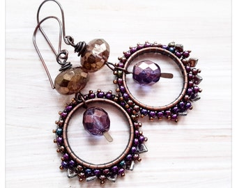 Purple and bronze bead woven hoop earrings - czech beaded hoops