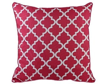 43 x 43cm Hot Pink White Geometric Pattern Design Moroccan Quatrefoil Cushion Pillow Cover - for Sofa Outdoor Bed Gift Home Decor Cushion
