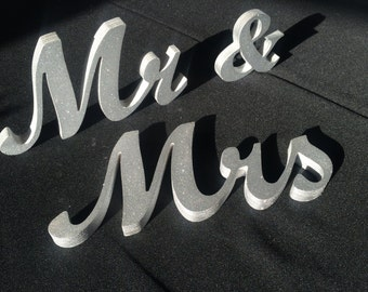 Mr & Mrs Glitter Sign- Wedding decoration-  Mr and Mrs signs for sweetheart table