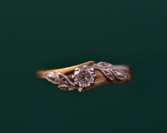 Platinum And 18ct Yellow Gold 1950's Ring With A Diamond