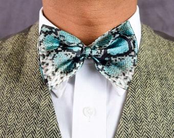 Teal Rattlesnake Print Bow Tie