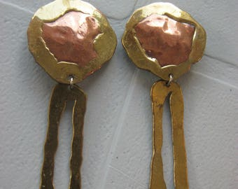 Vintage mixed metals copper brass Boho style drop dangle clip on earrings