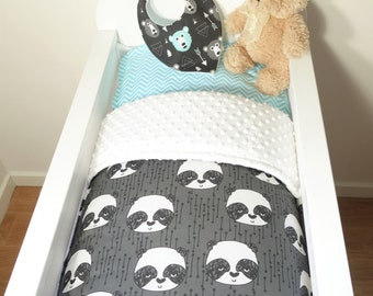 Bassinet gift packge OR bassinet quilt - Black, grey and white panda
