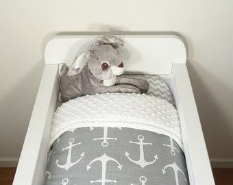 Bassinet set - Grey and white anchors, nautical