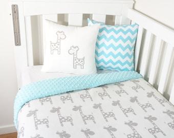 Grey and aqua, giraffe nursery items