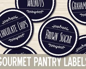"""2.5"""" Printable Pantry Basics Labels // Round Circle // Pantry Kitchen Organization // Mason Jar Wide Mouth // Bottle Jar  PDF Download"""