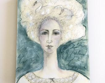 Original painting, portrait, mixed media art, 11x14, blue ready to hang art, abstract portrait, swan art