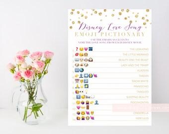 Gold Disney Love Song Bridal shower game, emoji printable, gold confetti, purple pink gold, downloadable shower game, INSTANT DOWNLOAD 008