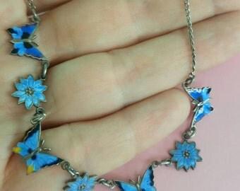 Vintage Silver Blue Enamel Scandinavian floral butterflies necklace