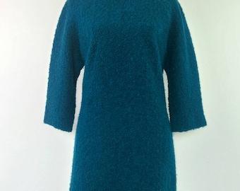 Vintage 60s Teal Boucle wool dress size L
