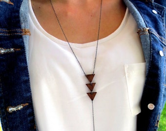 Lariat Triangle Necklace, Geometric Necklace, Wood Necklace, Minimalist Necklace