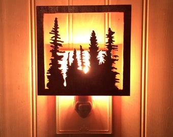 Wooden Silhouette Nightlight, Evergreen Tree Nightlight, Wooden Night Light, Custom Nightlight, Rustic Lighting