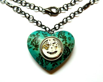 Large wooden heart, turquoise with black roses, built-in clockwork movable element, unique gift Steampunk jewelry necklace, handmade pendant