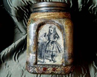"Alice In Wonderland trinket glass jar, completely unique stash Steampunk jewellery box, embellished illustrations, key, mixed media, 5"" pot"