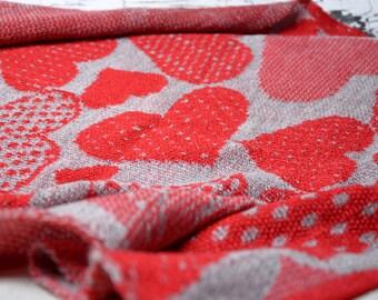red gray baby blanket, heart knit handmade blanket, Baby Gift ideas, baby afghan, Stroller Blanket, baby wrap, toddler blanket