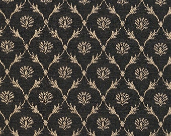 Black Floral Trellis Jacquard Woven Upholstery Fabric By The Yard | Pattern # B642