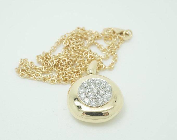 Diamond pendant-18K yellow gold-Women Jewelry-For her-Anniversary gift-Holidays present-Diamond necklace-Diamond pendant yellow gold