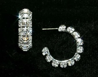 Square Stone 3/4 Rhinestone Hoop Earrings #12588