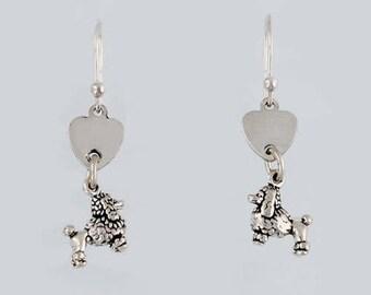 925 Sterling Silver Love My Poodle Heart Dangle Earrings, Dogs & Fine Jewelry - dc68-ear
