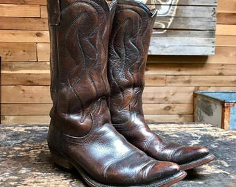 Vintage Acme Western Boots Vtg Dark Brown Leather Cowboy Boots Women's Size 6 C Wide