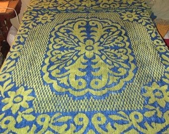 Vtg Retro Chenille  Fringed Full Thick Blue Green Retro Bedspread 96 x 94 Synthetic  25% off entire shop with code HAPPYNEWYEAR25