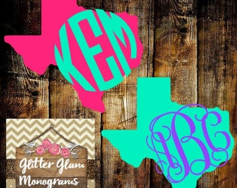 Texas State Decal With Monogram-Home State Decal-Monogram Texas Decal-Texas Yeti Decal-Personalized Texas Sate Sticker-Texas Pride