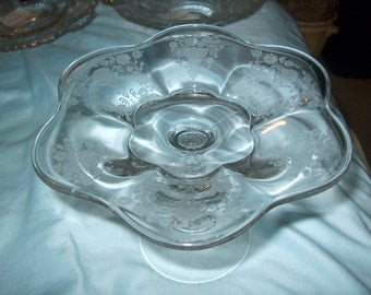 Antique Vintage Etched Glass Compote, Pedestal, Small, Fostoria