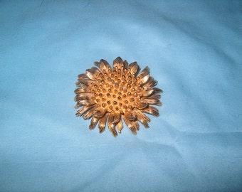 Vintage Costume Jewelry Sunflower Pin, Brooch, Marked Castlecliff, WAS 25.00 - 50% = 12.50