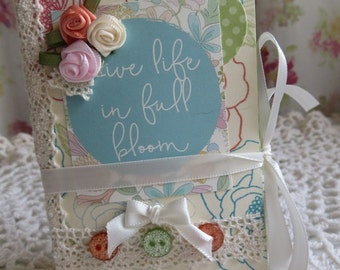 """Paper mini tag/photo album with pockets, 3""""x4-1/4"""", """"Live Life in Full Bloom"""", cottage,  aqua/peach/cream, instagrams, 8 pockets, 30 tags."""