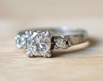 1930s Platinum Art Deco Engagement Ring with Diamonds - Platinum Engagement Ring -  Engagement Ring - 1 Carat Diamond Ring