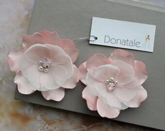 Bridal Headpiece,Wedding Hair Flowers,  Blush Pink Hair  Flowers,Bridesmaid  Hair Piece, Floral fascinator, Ivory Champagne Pink - CORINNE