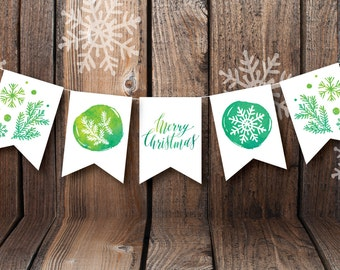 Printable Paper Banner | Merry Christmas | Instant Download PDF | Cut, Print, & Hang | Christmas Party Decor | Holiday Decor | Holiday