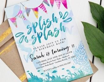 Mermaid Pool Party Invitation   Custom Birthday Invite   Editable Birthday Invitation   Pool Party   Beach Birthday   Instant Download