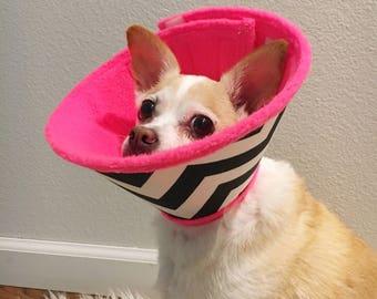 TREND.E.Collar - soft cone pet e collar for dogs + cats XS-XL - choose - palms or chevron & hot pink,lemon or grey fleece