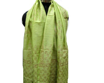 Green scarf/ block print scarf/ cotton silk scarf/  fashion scarf/golden scarf/ gift scarf / gift ideas.