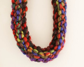 Hand made hand knitted chunky wool necklace