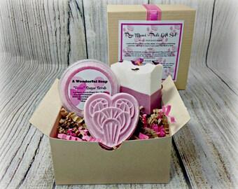 Rose Mani Pedi Gift Set / Bath Bomb Gift Set / Rose Soap Gift Set / Sugar Scrub Gift Set / Birthday Gift Set /  Spa Gift Set